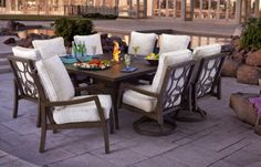 outdoor Stone Top square Dining Table 8 seats   ... the Introduction of Its Latest Luxury Fire Table Design for 2014