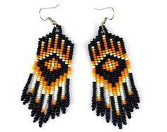 Native American style seed bead dangle earrings by Anabel27shop, $15.00