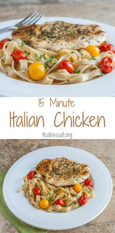 Italian Chicken with Pasta, cooked and ready to eat in less than FIFTEEN minutes!