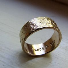 Men's 14k Gold Unique Rustic Distressed Wedding Band by tinahdee,