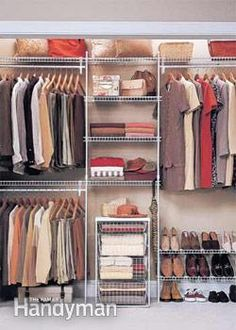 Affordable Home Improvement Ideas | The Family Handyman - my fav is the kitchen pull-outs! I hope Russ can install them :) Wire Closet Shelving, Closet Shelves, Small Closet Storage, Clothes Storage Ideas Without A Closet, Bedroom Storage Ideas For Clothes, Closet Racks, Bedroom Closet Storage, Diy Closet Ideas, Elfa Closet