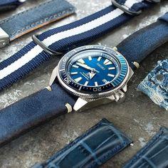 When blue meet Seiko Samurai SRPB09 blue lagoon More details on strapcode.wordpress.com #MiLTAT #strapcode