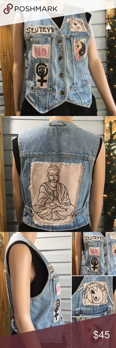 "Vintage OOAK denim vest w/ feminist patches This vest is badass!  One of a kind feminist punk patches adorning a denim vest (Liz Claiborne). It makes me want to throw on Rebel Girl by Bikini Kill and organize a woman's march! Featuring a Slutevr, ying yang, hairy armpit club, woman power symbol, ""NO!"" and praying Buddha on the back.  Materials: 100% cotton.  Size small. Good condition, some wear to the patches.  Measurements (flat): armpit to armpit: 17""; waist: 16.5""; bottom hem: 17""…"