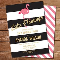 Pink Flamingo Invitation Pool by SunshineParties on #Etsy....So pretty! #PinkFlamingoPoolParty #PoolPinkFlamingo