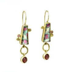 Ruby-fuxite drop earrings by Maria Frantzi. Earrings in 18ct gold and silver (925) with ruby-fuxite and tourmaline/rock crystal doublets and sapphires