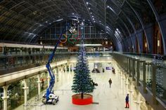 LEGO Christmas tree constructed in St. Pancras Station, London