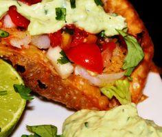 Menu Musings of a Modern American Mom: Shrimp Tacos with Spicy Avocado Lime Cream