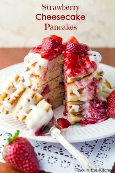 Strawberry Cheesecake Pancakes | Two in the Kitchen