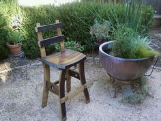 Wine Barrel Barstool Tall Back by FALLENOAKDESIGNS on Etsy,