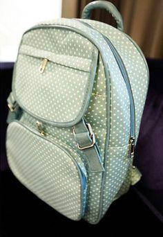 usd23.99/Image of Fresh Simple Polka-dot Print Leisure Canvas Backpack