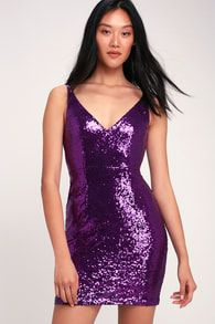 The party never has to stop in the Champagne Showers Purple Sequin Bodycon Dress! Shiny, navy blue sequins dance across the darted bodice. Royal Purple Dress, Purple Sequin Dress, Purple Cocktail Dress, Glitter Dress, Sequin Kimono, Cocktail Dresses, Black Sequins, Silver Sequin, Large Size Dresses