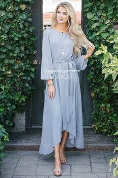 eb6f8ebfaa74 Light Gray Wrap Dress Modest Church Dress | Best and Affordable Modest  Boutique | Cute Modest