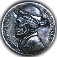 DONALD JENKINS HOBO NICKEL - SKULL HOBO - 1964 JEFFERSON NICKEL Hobo Nickel, Paper Cutting, Coins, Skull, Carving, Random, Art, Art Background, Rooms
