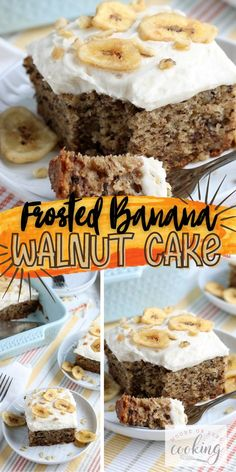 The Best Banana Walnut Cake is topped with a thick and creamy cream cheese frosting. It's baked up perfectly in a 13 x 9 baking dish with the best banana flavor, that is so soft & moist, and just crazy delicious. Optional garnish with sliced fresh bananas or banana chips and chopped walnuts for an amazing dessert! Sheet Cake Recipes, Cake Mix Recipes, Dessert Recipes, Easy Desserts, Delicious Desserts, Cake Icing Techniques, Banana Walnut Cake, Coffee Cake Loaf, Easy Minecraft Cake