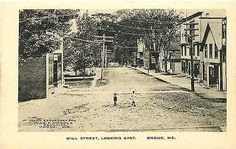 Orono Maine ME 1908 Town Mill Street East Albertype Antique Vintage Postcard Orono Maine ME Circa 1908 Aerial town view on Mill Street with two young boys in the street. Unused Albertype antique vinta