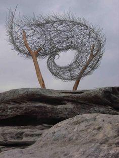Browyn Berman   'Windspiral II'.  Stainless steel, timber, steel, aluminium