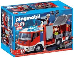 The Playmobil Fire Engine has flashing lights x AAA batteries required) and a working winch on the front. There is a fire hose on the top and lots of storage Play Mobile, Adventure Gear, Family Adventure, Lego City, Toys For Boys, Kids Toys, Fire Engine Toy, Playmobil City, Kids Spiderman Costume