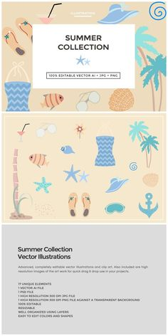 Summer Collection Illustration  WHAT YOU'LL GET  - 17 Summer Collection Illustration Set in vector .AI format - All elements in .PSD Photoshop format - High resolution 300 DP... https://creativemarket.com/MeeraG/395914-Summer-Collection-Illustration?u=MeeraG&utm_source=Link&utm_medium=CM+Social+Share&utm_campaign=Product+Social+Share&utm_content=Summer+Collection+Illustration+~+Illustrations+on+Creative+Market