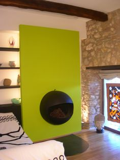 Modern fireplace in an old farmhouse in Umbria