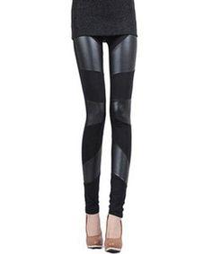 Stylish PU Leather Splicing Black Slimming Leggings For Women