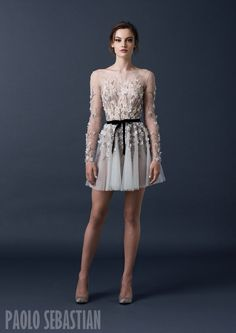 PSAW1514 Sleeved mini dress with floral embroidery