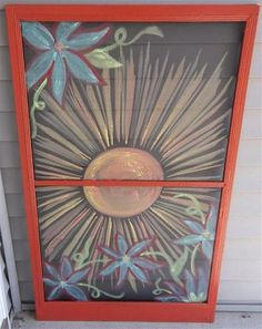 Painted Sunshine & Flowers Vintage Recycled Window Screen. $40.00, via Etsy.
