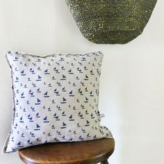 Navy Sailboats Linen Cushion | Charlotte Macey, England © #linen #homeware #coast #lifestyle #boats #cushion
