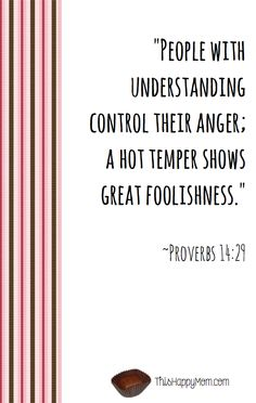 People with understanding control their anger; a hot temper shows great foolishness.  Proverbs 14:29