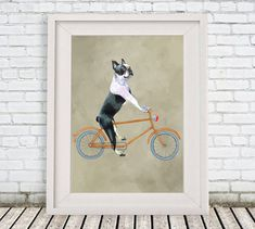 Boston Terrier on bicycle Print by Coco de  #art #print #digital @EtsyMktgTool http://etsy.me/2f0cxVR