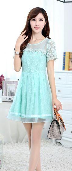 Elegant Korean Lace Dress Short Sleeve YRB0041