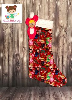 """Custom cotton lycra """"A Christmas Story"""" stocking with appliquéd Ralphie in the bunny suit, top is minky lined. Perfect Christmas gift for the story everyone loves at Christmas time."""