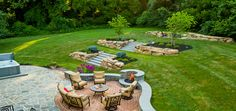 As one of the Brandywine Valley's premier landscaping firms, our hardscape designers customize each project with grilling islands, outdoor kitchens & fireplaces. Luxury Landscaping, Landscaping With Rocks, Landscape Design Plans, Landscape Concept, Outside Fire Pits, Masonry Work, Brandywine Valley, Attached Pergola