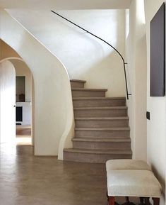 Belgian Farmhouse by Ann-Sophie de Stoop, Interiors Magazine June-July pg. Curved Staircase, Modern Staircase, Stair Railing, Staircase Design, Spiral Staircases, Staircase Handrail, Staircase Ideas, Detail Architecture, Interior Architecture