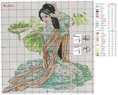 0 point de croix geisha en vert - cross stitch geisha in green