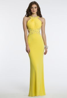 Camille La Vie Jersey Halter Dress for Prom in Yellow with Cleo Collar