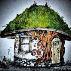 De esta forma imaginaba Heidi su casa. Este dibujo puede que no sea tan preciso como los planos de un arquitecto, pero está cercano en espíritu. Heidi empleó técnicas y materiales naturales para ayudarle a conseguir la suavidad y calidez que identifican su vivienda.