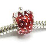 Sterling Silver Red Enamel Strawberry Bead Charm @PlantCityStrawberries #PlantCityStrawberries #Jewelry #Mall #Shopping http://plantcitystrawberries.weebly.com/strawberry-jewelry.html