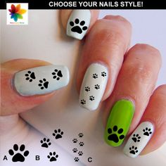 cat paw nail, paw print nail decal, 90  Waterslide stickers Decal Nail, clear background, three size