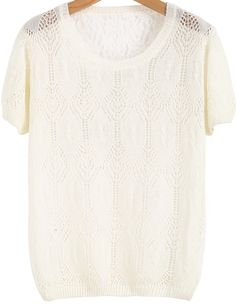 Apricot Short Sleeve Hollow Lace T-Shirt - Sheinside.com
