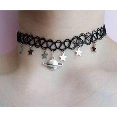 pastel goth saturn choker ($9.79) ❤ liked on Polyvore featuring jewelry, necklaces, tattoo choker, galaxy necklace, gothic necklaces, gothic jewelry and stretchy choker