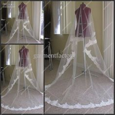 Lace Trim Long Wedding Veils White Netting Chapel Train Bridal Veils Free Shipping can make you a pretty bride.