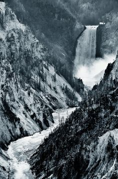 I need to hit up some of these prks in the winter - Yellowstone Falls | Montana (by Heather Bechard)