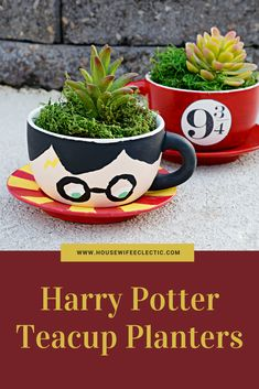 Harry Potter Tea Cup Planters - Housewife Eclectic, You can enjoy break fast or various time times using tea cups. Tea cups also provide ornamental features. When you look at the tea cup models, you might find this clearly. Harry Potter Plants, Harry Potter Diy, Cute Crafts, Diy And Crafts, Decor Crafts, Tea Cup Planter, Painted Flower Pots, Painted Cups, Clay Pot Crafts