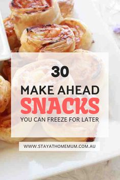 30 Make Ahead Snacks You Can Freeze For Later - Make Ahead Meals - Kids Snacks Snacks Für Party, Lunch Snacks, Savory Snacks, Clean Eating Snacks, Healthy Snacks, Snack Recipes, Office Snacks, Breakfast Recipes, Frozen Appetizers