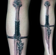 Realistic Lord Of The Rings Sword Mens Forearm Tattoo