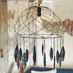 PB Teen Junk Gypsy Dream Catcher Chandelier ($140) ❤ liked on Polyvore featuring home, lighting, ceiling lights, pbteen, glitter lamp, beaded lamp, painted chandelier and painted lamp