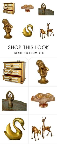 """Gold Home Decor Vintage"" by weelambievintage on Polyvore featuring interior, interiors, interior design, home, home decor, interior decorating, Rosenthal, vintage, gold and etsy"
