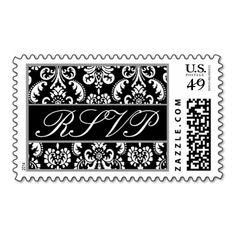 Black and White Heart Damask Wedding RSVP Postage Stamp #wedding #stamps #love #marriage #romance #bride #groom #jaclinart #love #postage #black #white #heart #damask #rsvp