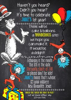 Cat in the Hat Birthday Invitation 4x6 and 5x7