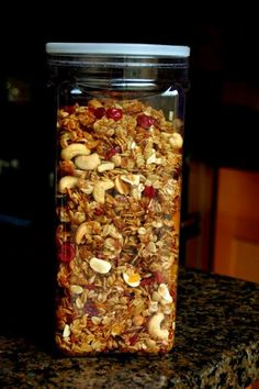 ina garten's granola  -oats -shredded coconut -almonds -vegetable oil -honey -dried figs -dried cranberries -raw cashews